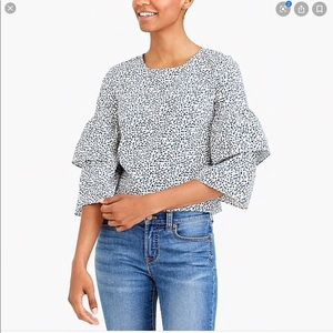 J Crew Factory | Floral Tiered Bell Sleeve Top